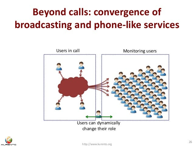 Beyond calls: convergence of  broadcasting and phone-like services  http://www.kurento.org  26  Users in call Monitoring u...