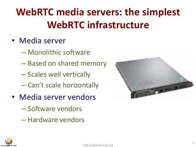 WebRTC media servers: the simplest  WebRTC infrastructure  • Media server  – Monolithic software  – Based on shared memory...
