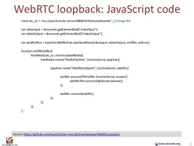www.kurento.org WebRTC loopback: JavaScript code 23 Source: https://github.com/Kurento/kws-tutorial/tree/develop/WebRtcLoo...
