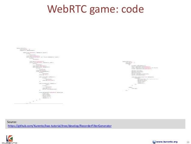 www.kurento.org WebRTC game: code 38 Source: https://github.com/Kurento/kws-tutorial/tree/develop/RecorderFilterGenerator ...