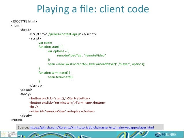 """Playing  a  file:  client  code   21 <!DOCTYPE  html>   <html>   <head>   <script  src=""""./js/kws-‐cont..."""