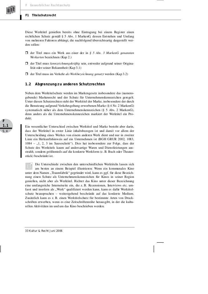 F Gewerblicher Rechtsschutz       F1 Titelschutzrecht       Diese Werktitel genießen bereits ohne Eintragung bei einem Reg...