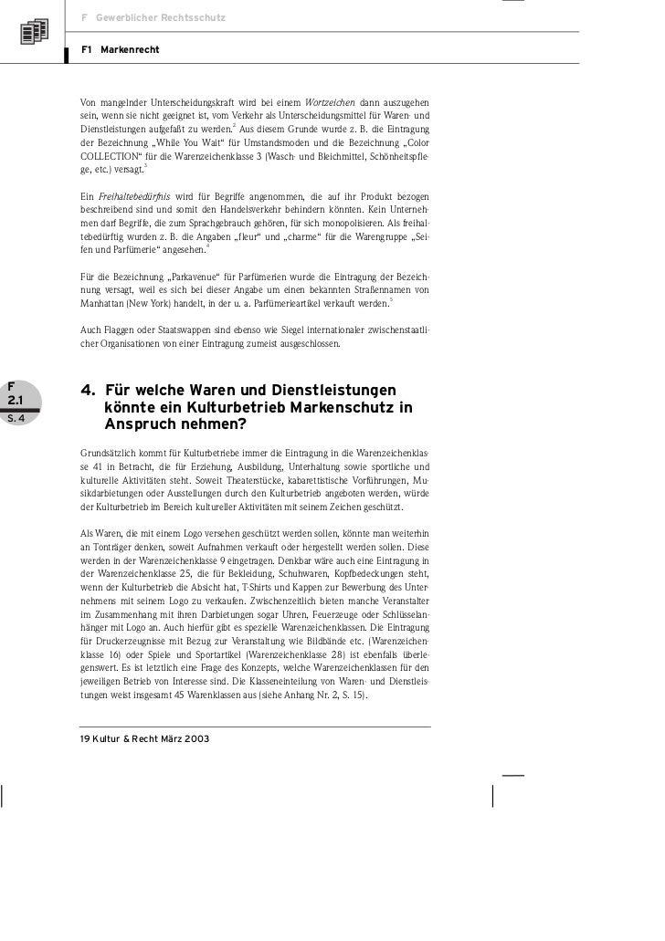 F Gewerblicher Rechtsschutz       F1 Markenrecht       Von mangelnder Unterscheidungskraft wird bei einem Wortzeichen dann...