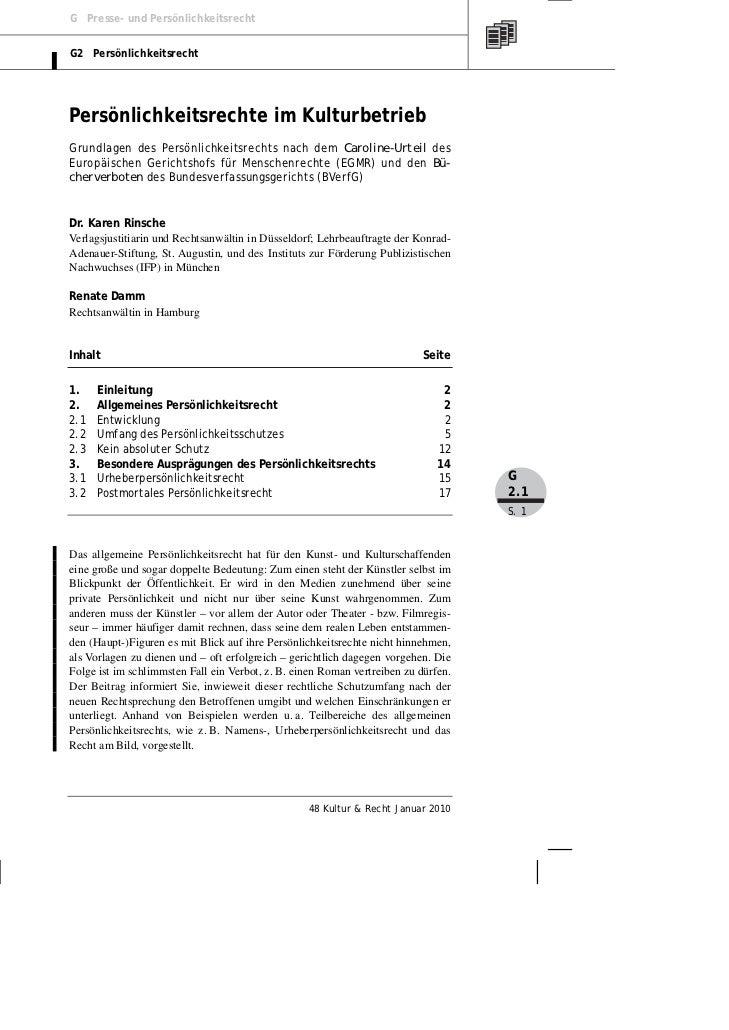 G Presse- und PersönlichkeitsrechtG2 PersönlichkeitsrechtPersönlichkeitsrechte im KulturbetriebGrundlagen des Persönlichke...