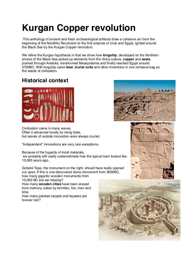 Kurgan Copper revolution This anthology of ancient and fresh archaeological artifacts draw a cohesive arc from the beginni...