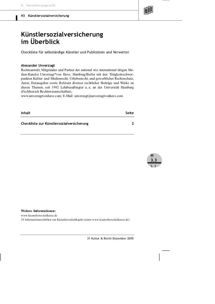 H VersicherungsrechtH3 KünstlersozialversicherungKünstlersozialversicherungim ÜberblickCheckliste für selbständige Künstle...