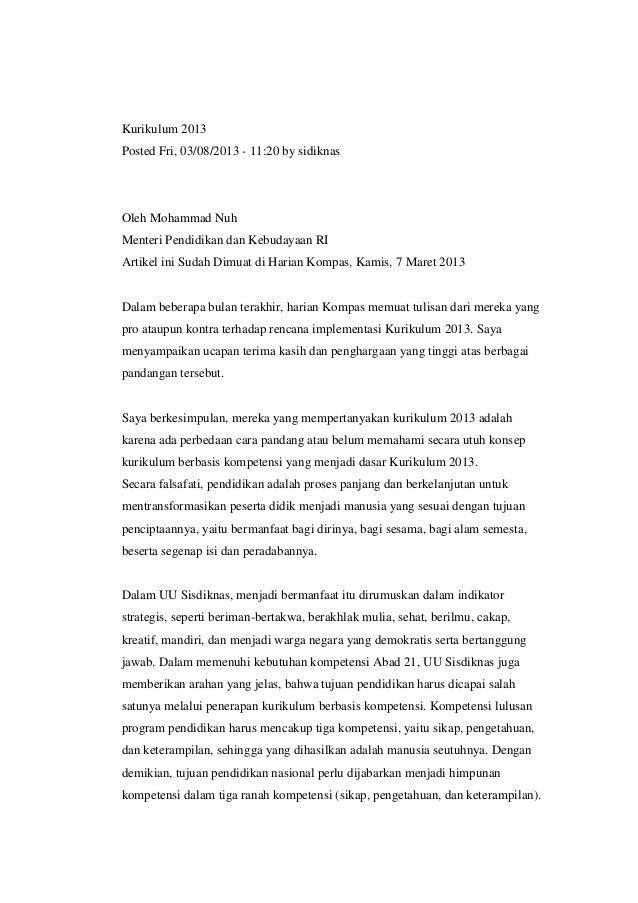 Kurikulum 2013 Posted Fri, 03/08/2013 - 11:20 by sidiknas  Oleh Mohammad Nuh Menteri Pendidikan dan Kebudayaan RI Artikel ...