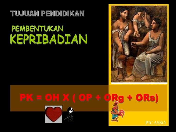 PEMBENTUKAN PK = OH X ( OP + ORg + ORs) KEPRIBADIAN TUJUAN PENDIDIKAN PICASSO