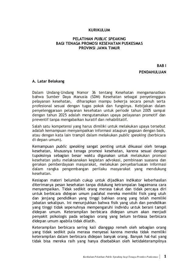 Kurikulum Pelatihan Public Speaking bagi Tenaga Promkes Puskesmas  1 KURIKULUM PELATIHAN PUBLIC SPEAKING BAGI TENAGA PROM...