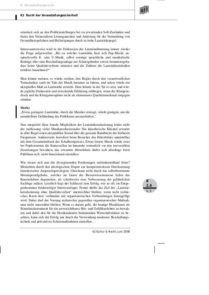 K VeranstaltungsrechtK2 Recht der Veranstaltungssicherheitorientiert sich an den Problemstellungen bei zu erwartenden Soll...
