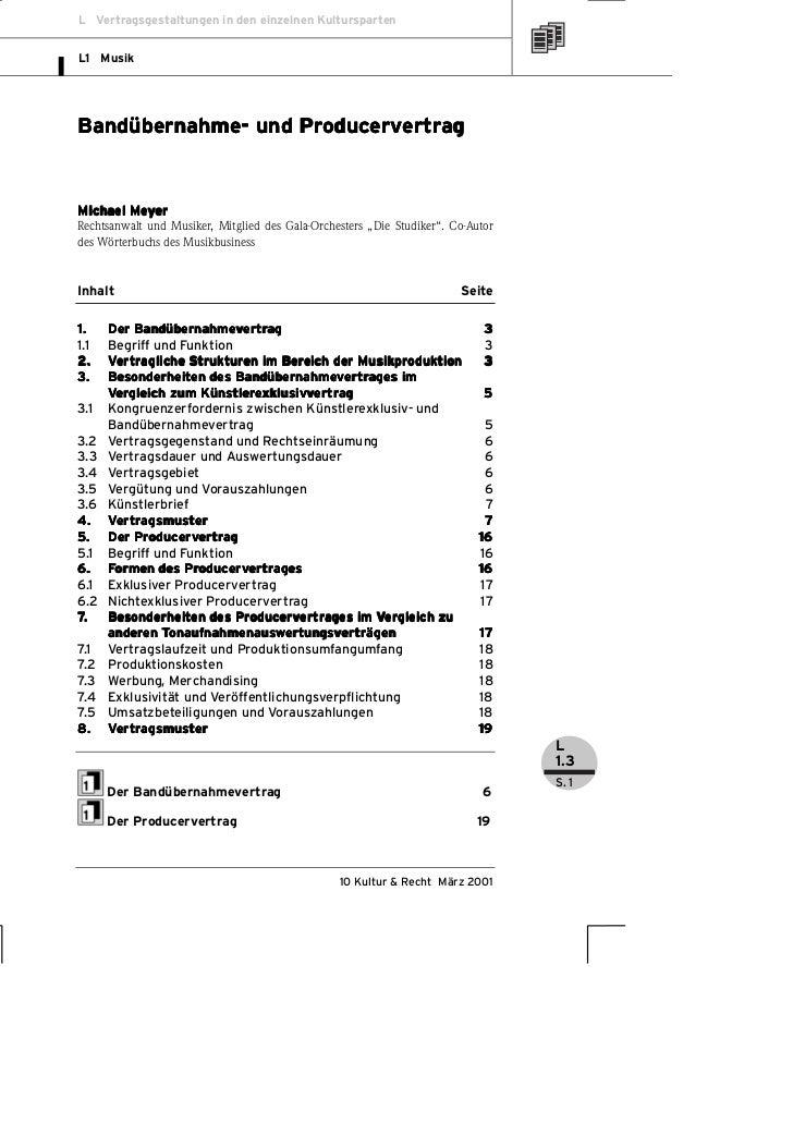 L Vertragsgestaltungen in den einzelnen KulturspartenL1 Musik                   ProducerverBandübernahme- und Producervert...