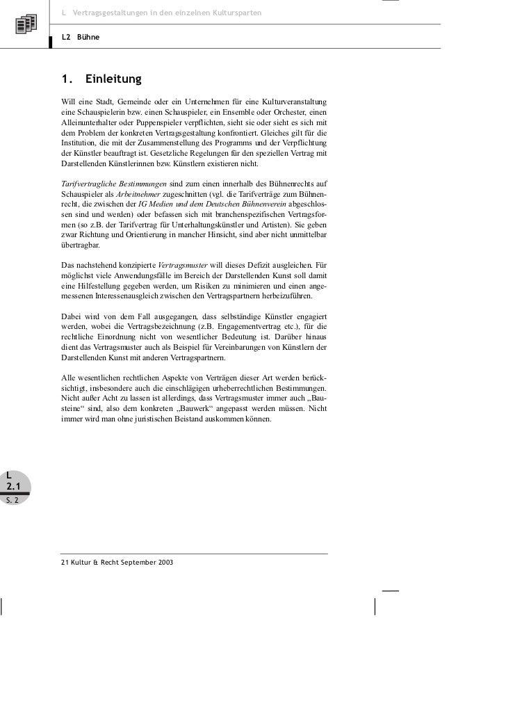 Fischer, Reich: Vertragsmuster Darstellende Kunst