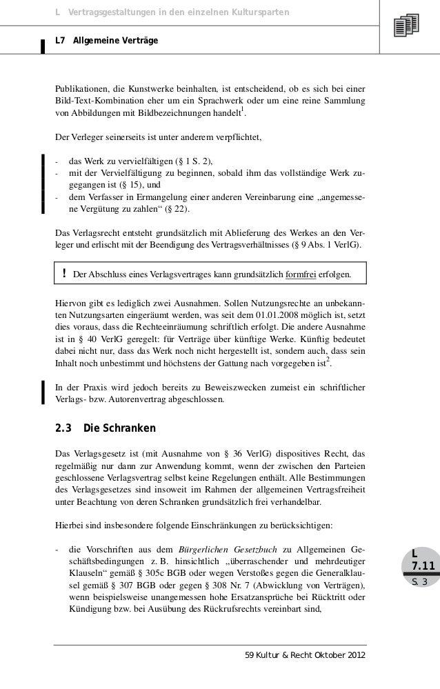L Vertragsgestaltungen in den einzelnen KulturspartenL7 Allgemeine VerträgePublikationen, die Kunstwerke beinhalten, ist e...