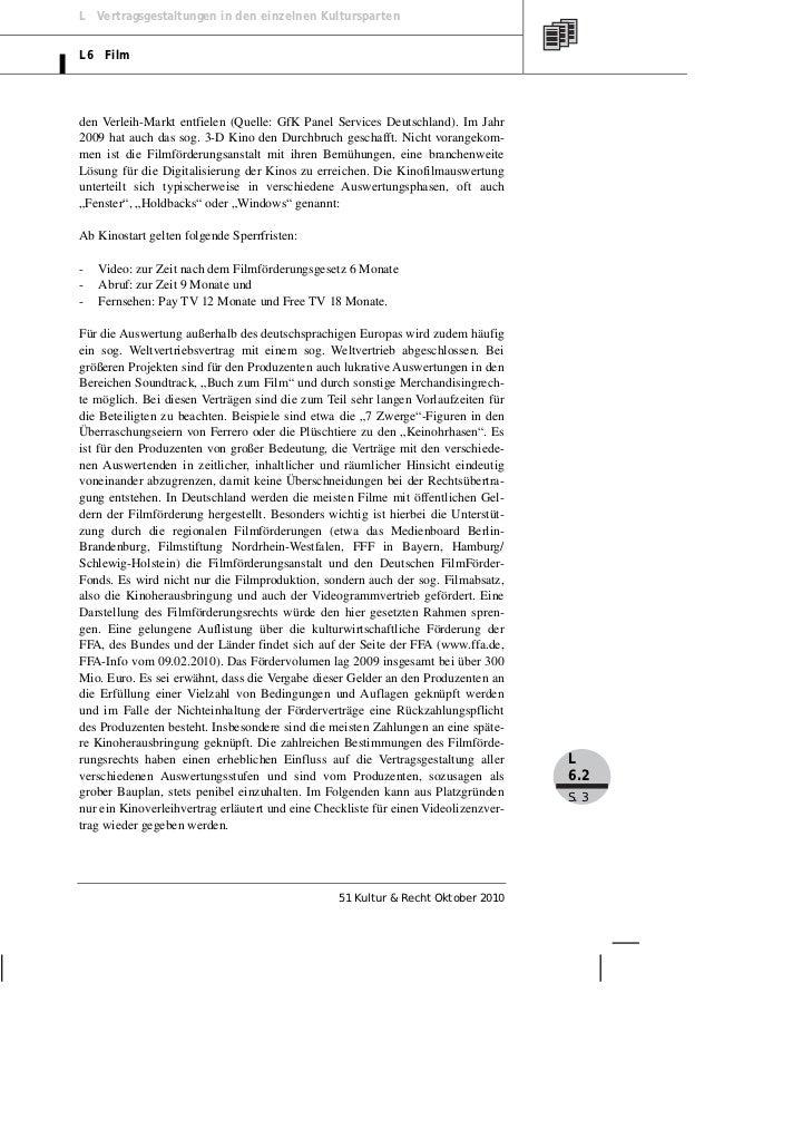 L Vertragsgestaltungen in den einzelnen KulturspartenL6 Filmden Verleih-Markt entfielen (Quelle: GfK Panel Services Deutsc...