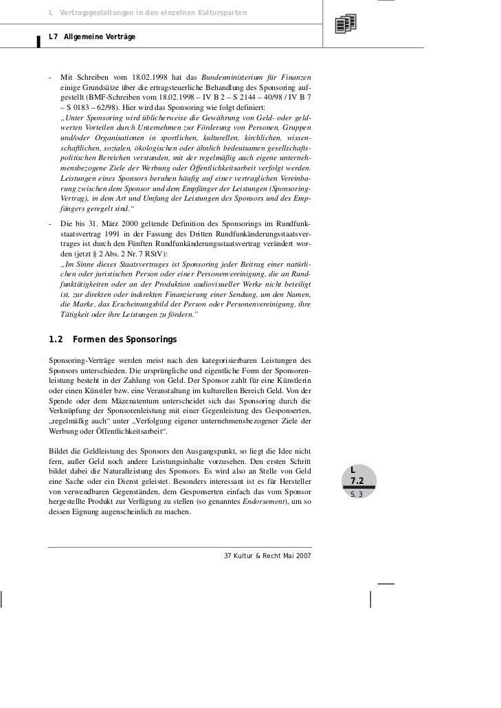 Bretz: Der Sponsoring-Vertrag im Kulturbereich. Was Sie bei der Vertr…