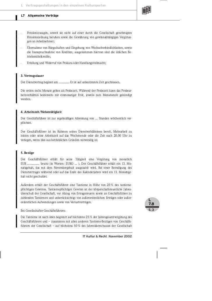 Grasedieck Vertragsmuster Geschäftsführer Dienstvertrag