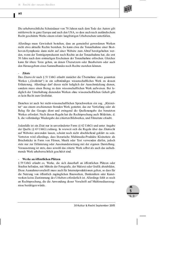 M Recht der neuen MedienM5Die urheberrechtliche Schutzdauer von 70 Jahren nach dem Tode des Autors giltmittlerweile in gan...