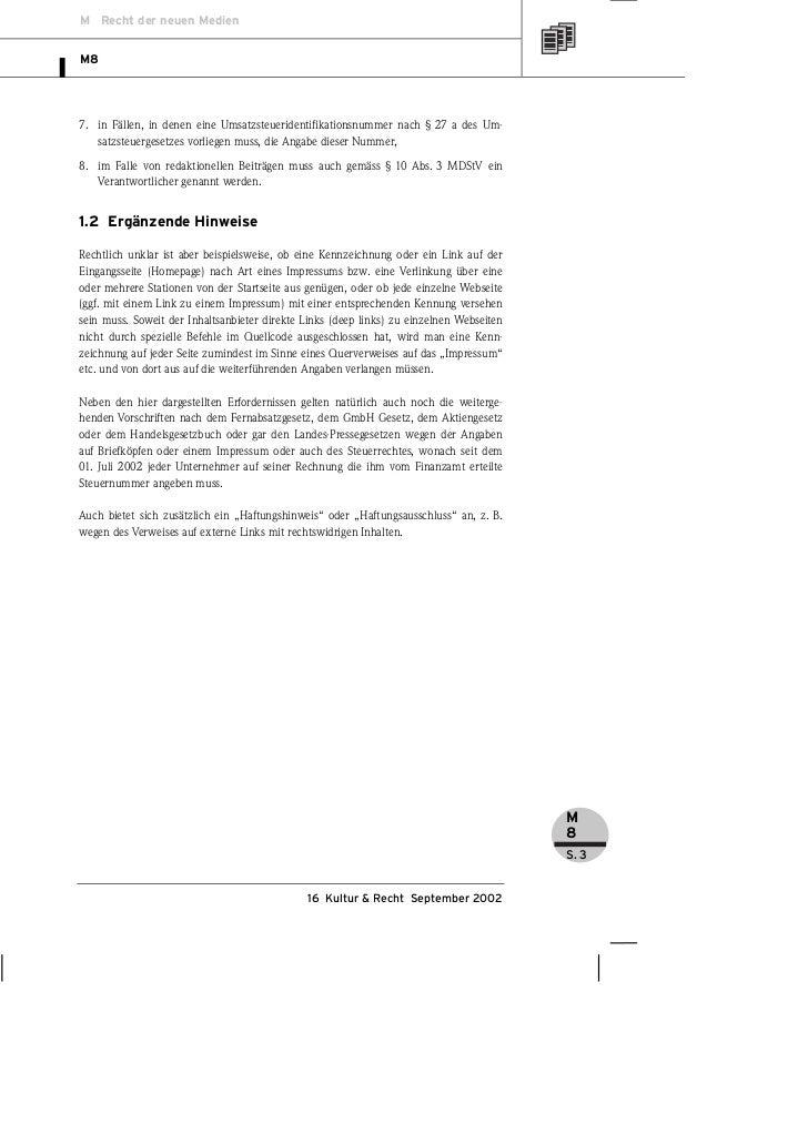 M Recht der neuen MedienM87. in Fällen, in denen eine Umsatzsteueridentifikationsnummer nach § 27 a des Um-   satzsteuerge...