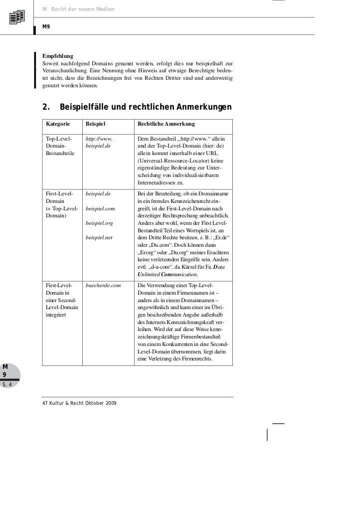 M Recht der neuen Medien       M9       Empfehlung       Soweit nachfolgend Domains genannt werden, erfolgt dies nur beisp...