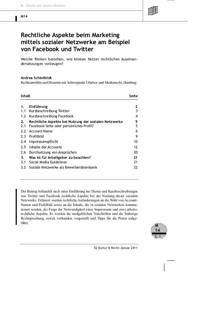 M Recht der neuen MedienM14Rechtliche Aspekte beim Marketingmittels sozialer Netzwerke am Beispielvon Facebook und Twitter...