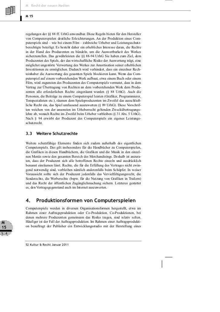 M Recht der neuen Medien       M 15       regelungen der §§ 88 ff. UrhG anwendbar. Diese Regeln bieten für den Hersteller ...