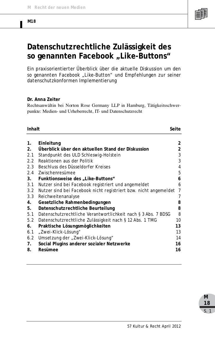 """M Recht der neuen MedienM18Datenschutzrechtliche Zulässigkeit desso genannten Facebook """"Like-Buttons""""Ein praxisorientierte..."""