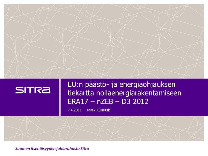 EU:n päästö- ja energiaohjauksentiekartta nollaenergiarakentamiseenERA17 – nZEB – D3 20127.4.2011   Jarek Kurnitski