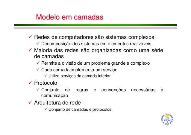 Modelo em camadasModelo em camadas Redes de computadores são sistemas complexos Decomposição dos sistemas em elementos rea...