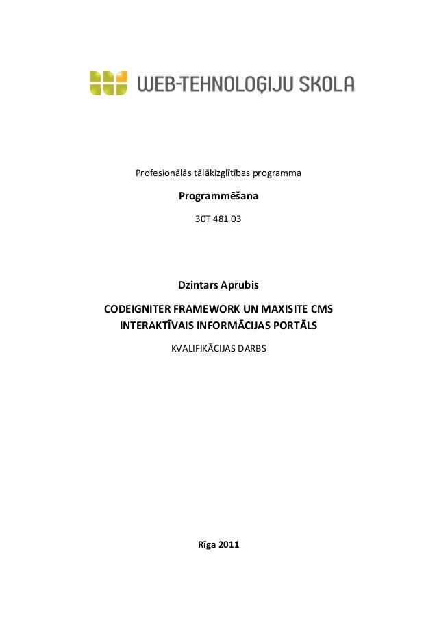 Profesionālās tālākizglītības programma               Programmēšana                   30T 481 03               Dzintars Ap...
