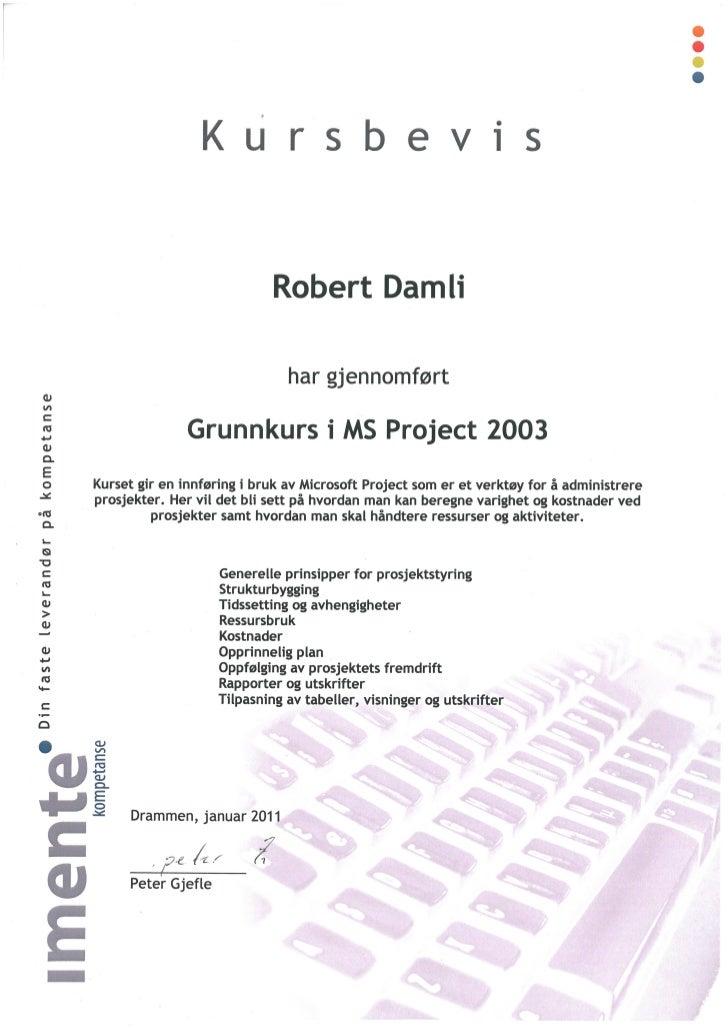 Kursbevis Ms Project 2003