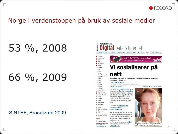 Norge i verdenstoppen på bruk av sosiale medier <ul><li>53 %, 2008  </li></ul><ul><li>66 %, 2009 </li></ul>SINTEF, Brandtz...