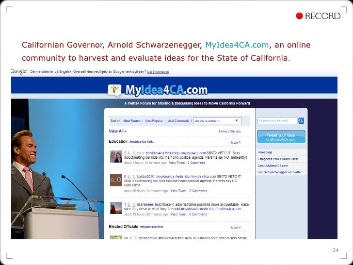 Californian Governor, Arnold Schwarzenegger,  MyIdea4CA.com , an online community to harvest and evaluate ideas for the St...