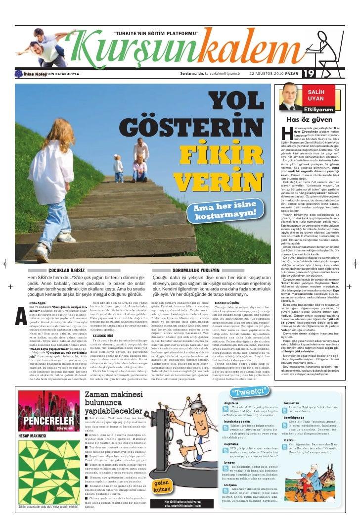 Türkiye Gazetesi ile İhlas Kolejinden Ortak Eğitim Kültür Eki 24.Sayi