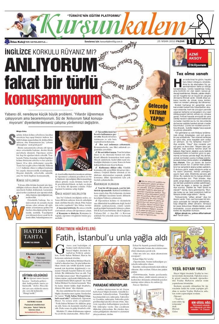Türkiye Gazetesi ile İhlas Kolejinden Ortak Eğitim Kültür Eki 7.Sayi