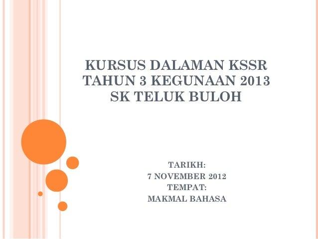 KURSUS DALAMAN KSSRTAHUN 3 KEGUNAAN 2013   SK TELUK BULOH           TARIKH:       7 NOVEMBER 2012           TEMPAT:       ...