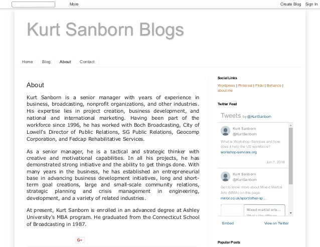 Kurt Sanborn Blogs Home Blog About Contact About Kurt Sanborn is a senior manager with years of experience in business, br...