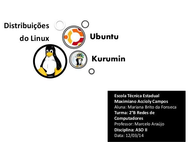 Distribuições  do Linux  Ubuntu Kurumin  Escola Técnica Estadual Maximiano Accioly Campos Aluna: Mariana Brito da Fonseca ...