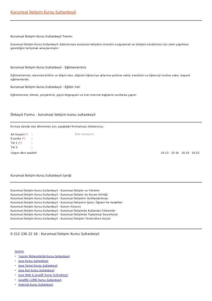 Kurumsal İletişim Kursu SultanbeyliKurumsal İletişim Kursu Sultanbeyli TanımıKurumsal İletişim Kursu Sultanbeyli: Katılımc...