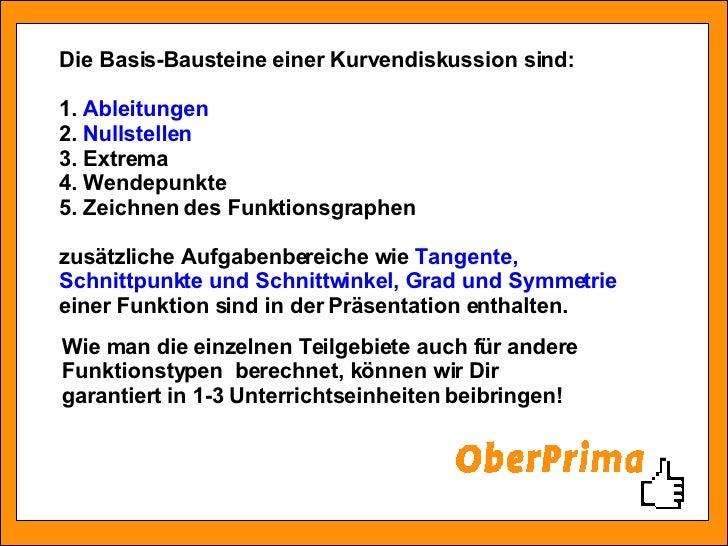 Die Basis-Bausteine einer Kurvendiskussion sind: 1.  Ableitungen 2.  Nullstellen   3. Extrema 4. Wendepunkte 5. Zeichnen d...