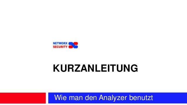Wie man den Analyzer benutzt KURZANLEITUNG