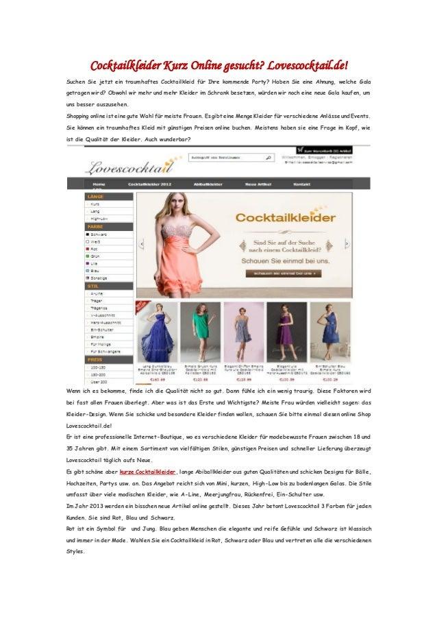 Cocktailkleider Kurz Online gesucht? Lovescocktail.de!Suchen Sie jetzt ein traumhaftes Cocktailkleid für Ihre kommende Par...
