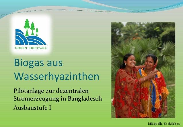 Biogas ausWasserhyazinthenPilotanlage zur dezentralenStromerzeugung in BangladeschAusbaustufe I                           ...