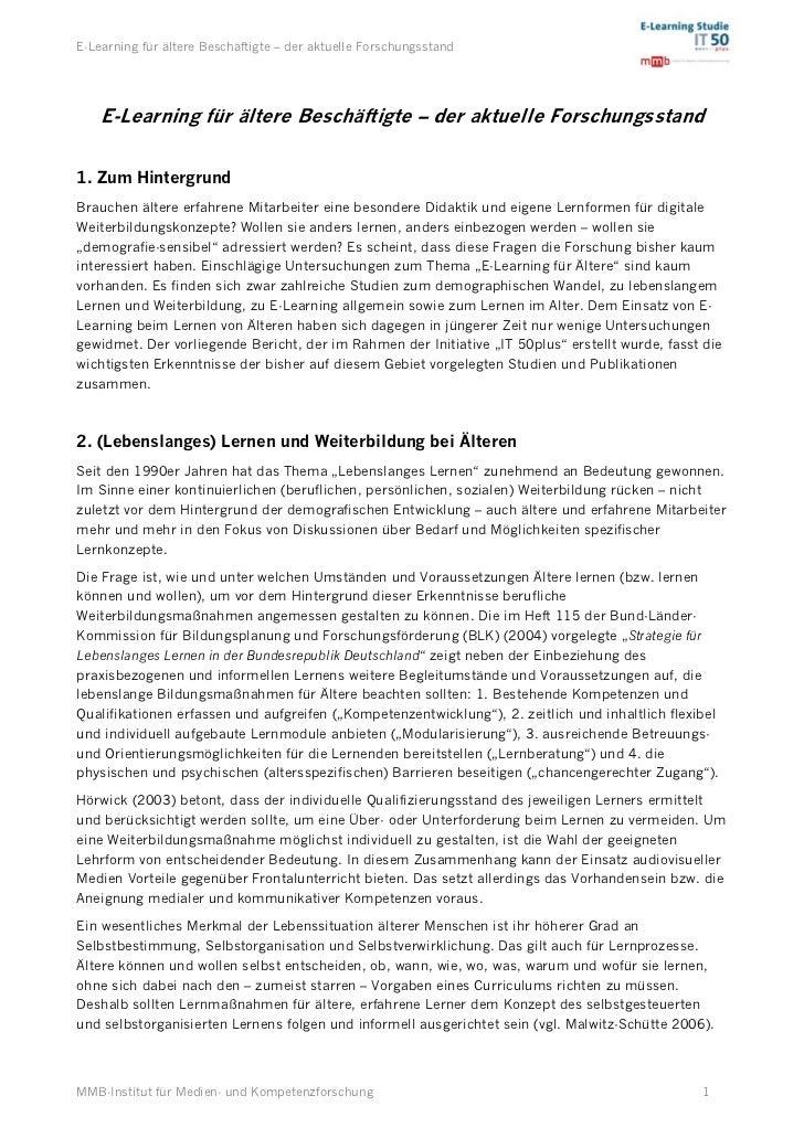 E-Learning für ältere Beschäftigte – der aktuelle Forschungsstand    E-Learning für ältere Beschäftigte – der aktuelle For...