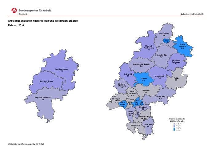 ArbeitsmarktstatistikArbeitslosenquoten nach Kreisen und kreisfreien StädtenFebruar 2010                                  ...