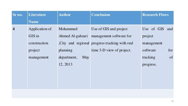Sr no. Literature Name Author Conclusion Research Flows 4 Application of GIS in construction project management Mohammed A...