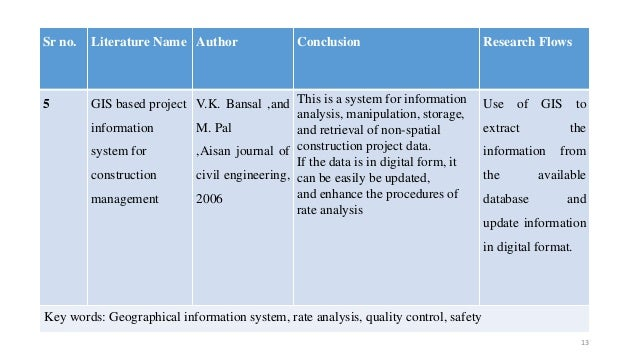 Sr no. Literature Name Author Conclusion Research Flows 5 GIS based project information system for construction management...