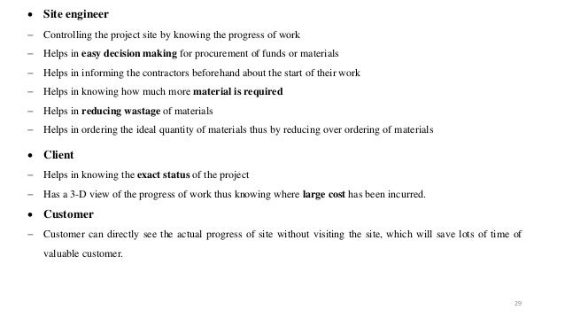 29  Site engineer  Controlling the project site by knowing the progress of work  Helps in easy decision making for proc...