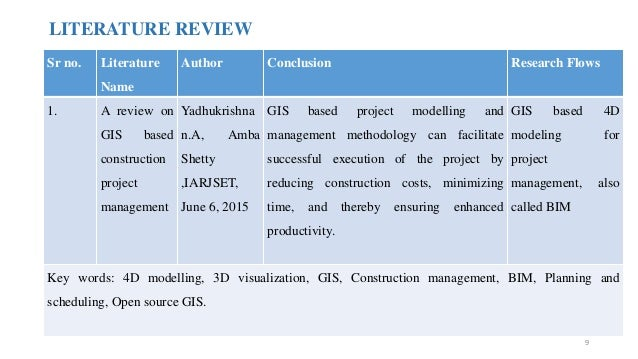 LITERATURE REVIEW Sr no. Literature Name Author Conclusion Research Flows 1. A review on GIS based construction project ma...