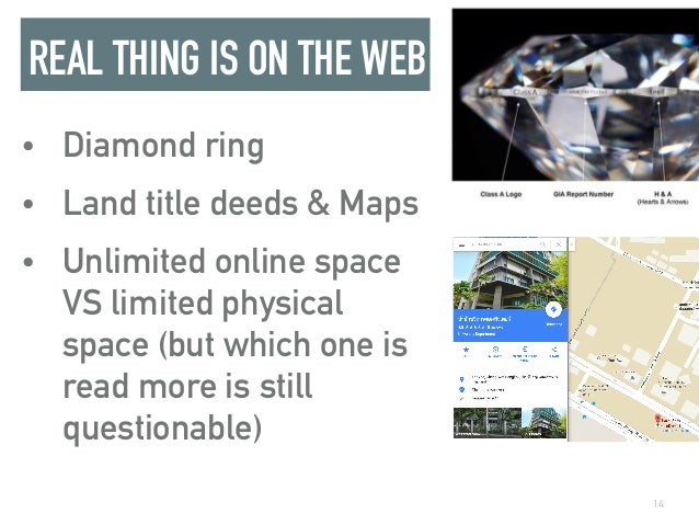 REAL THING IS ON THE WEB • Diamond ring • Land title deeds & Maps • Unlimited online space VS limited physical space (but ...
