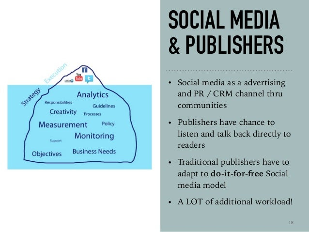 SOCIAL MEDIA & PUBLISHERS • Social media as a advertising and PR / CRM channel thru communities • Publishers have chance t...